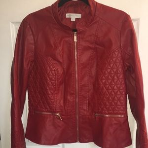 NY&C Red & Gold Faux Leather Jacket NWT